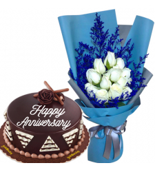 12 White Roses with Chocolate Anniversary Cake