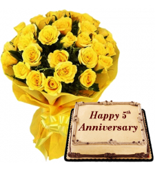 24 Yellow Roses Bouquet with Anniversary Mocha Cake