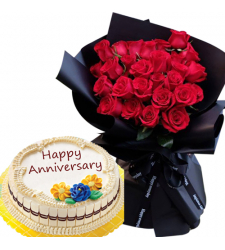 24 Red Roses In Bouquet with Anniversary Cake