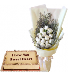12 White Roses Bouquet with Mocha Anniversary Cake