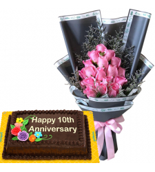 15 Pink Roses Bouquet with Chocolate Anniversary Cake