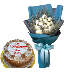 12 White Roses Bouquet with Anniversary Cake