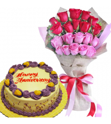 20 Red & Pink Rose Bouquet with Anniversary Cake