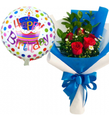 5 Red Roses Bouquet with Birthday Mylar Balloon
