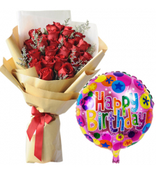 24 Red Roses Bouquet with Birthday Mylar Balloon