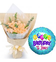 24 Pcs Peach Roses with Birthday Mylar Balloon