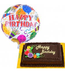 Mylar Balloon with Birthday Choco Chiffon Cake