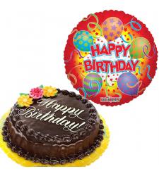 Birthday Mylar Balloon with Chocolate Chiffon Cake
