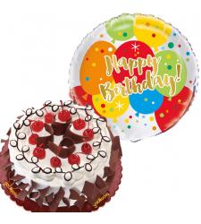 Black Forest Cake with Birthday Mylar Balloon
