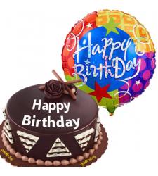 Chocolate Cake with Birthday Mylar Balloon