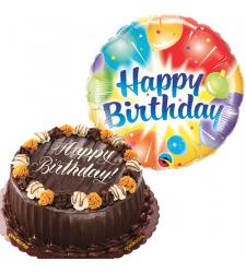 Birthday Mylar Balloon with Choco Caramel Cake