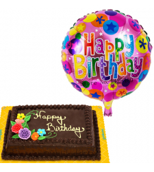Choco Chiffon Cake with Birthday Balloon