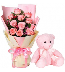 12 Pink Roses with Small Teddy Bear