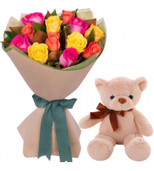 "12 Mixed Roses with 8"" Brown Teddy Bear"
