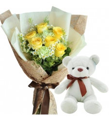 "6 Yellow Color Roses with 8"" Inch Bear"