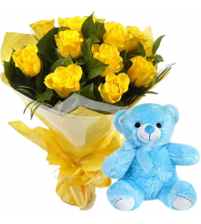 12 Yellow Roses with Blue Small Bear