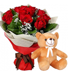 12 Red Roses with Brown Small Bear