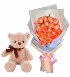 24 Orange Color Roses with Small Bear