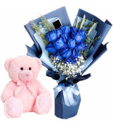 "12 Blue Color Roses with 8"" Inch Bear"