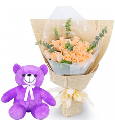"24 Peach Color Roses with 8"" Teddy Bear"