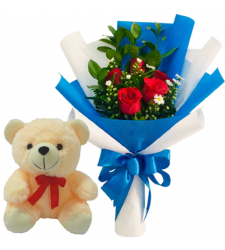 5 Pcs. Red Color Roses with Small Bear