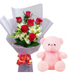 6 Pcs. Red Roses in Bouquet with Small Bear