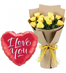 12 Yellow Roses with Mylar Balloon
