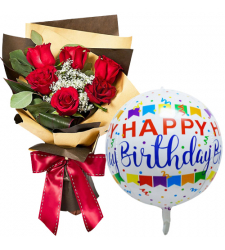 6 Red Roses Bouquet with Birthday Balloon