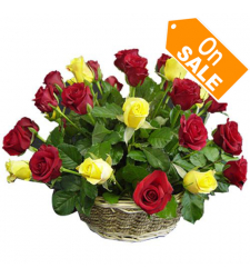 24 Multi Color Roses in Basket