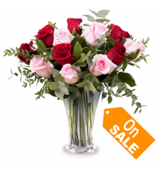 send 1 dozen red and pink roses in vase to cebu