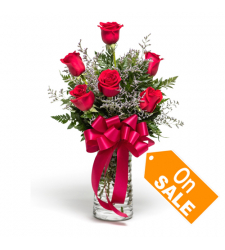 Six Red Roses Garden in Vase