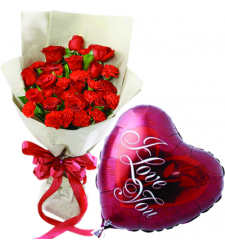 24 Pieces Roses with Love You Balloon