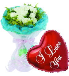 12 pcs White Roses & Love You Balloon