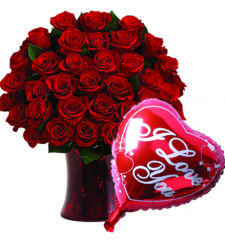 36 Red Roses In Vase with Love You Balloon