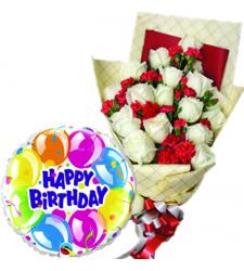 12 Pcs White Roses with Birthday Balloon