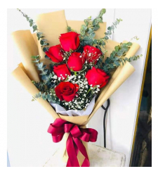 send 7 stems fresh red roses in bouquet to cebu