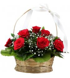 12 pcs. Red Color Roses in Basket
