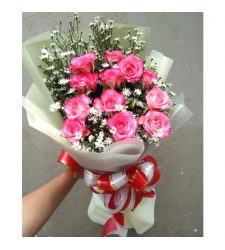 send 12 stems pink color roses bouquet to cebu