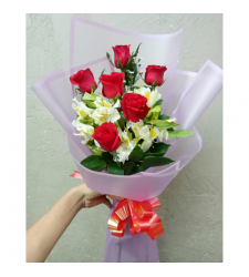 send half dozen fresh red roses bouquet to cebu