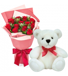 12 Red Color Roses Bouquet with Small Teddy Bear