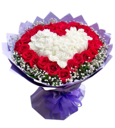 48 Red & White Color Roses in Bouquet