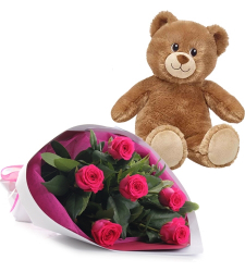 6 Pink Roses in Bouquet with Small Bear