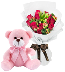 12 Red Roses with Pink Small Bear