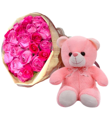 24 Pink Roses in Bouquet with Small Bear
