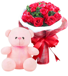 12 Red Roses in Bouquet with Pink Bear