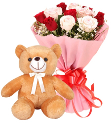 12 Red and Pink Roses with Small Bear