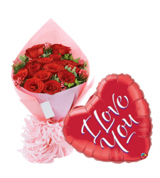 24 Pcs Roses with Love You Balloon