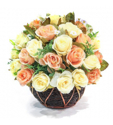 2 Dozen Peach and White Roses in Basket