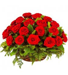 24 Red Roses in Basket