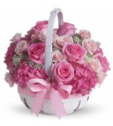 12 Pretty in Pink Flower Basket